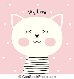 Cute cartoon cat and inscription my love.