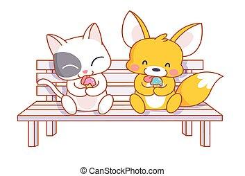 cute cartoon cat and squirrel