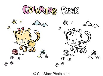 Cute cartoon cat, coloring book with kitten