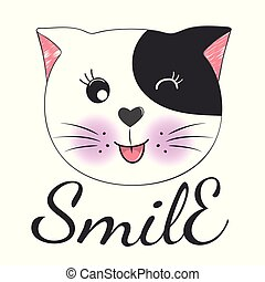 Cute cartoon cat face and inscription smile.