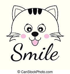 Cute cartoon cat face and inscription smile.