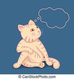 Cute cartoon cat in yoga pose meditation, a twisted pose with floating box for text on blue background.