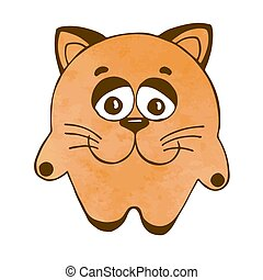 Cute cartoon cat isolated on white background. Vector illustration in sketch style. Stylized watercolor. EPS 10