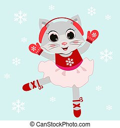 Cute cartoon cat little ballerina vector illustration. Children print . Merry Christmas. Merry Christmas print