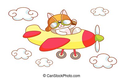 cute cartoon cat on a plane