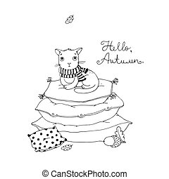 Cute cartoon cat on cushions. - Hand drawing isolated...