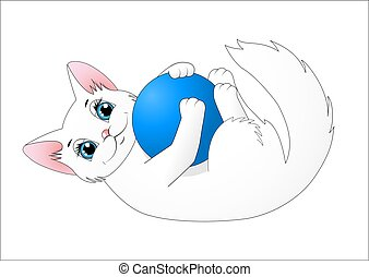 Cute cartoon cat playing with a ball