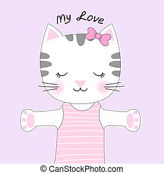 Cute cartoon cat with a bow and inscription my love.