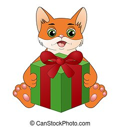Cute cartoon cat with a gift box