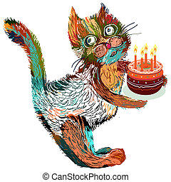 Cute cartoon cat with cake. Vector illustration on a white background.