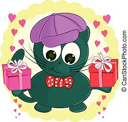 cute cartoon cat with gifts.