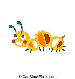 Cute cartoon caterpillar colorful character vector Illustration