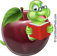 A happy cute cartoon caterpillar bookworm worm or caterpillar reading a book and coming out of an apple and wearing glasses