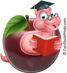 Cartoon caterpillar bookworm worm or caterpillar reading a book and coming out of an apple and wearing glasses and mortar board graduation cap