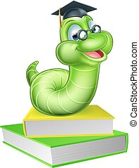Cute smiling green cartoon caterpillar worm bookworm mascot wearing glasses and graduation hat with books