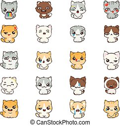 Cute cartoon cats and dogs with different emotions. Sticker collection. Vector set of doodle emoji and emoticons