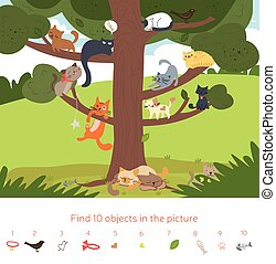 Cute cartoon cats in a tree kids puzzle