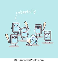cute cartoon cellphone bully, great for technology concept ...