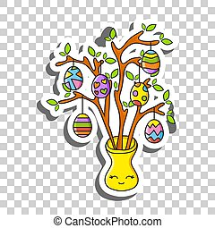 Cute cartoon character. Easter egg tree. Sticker with contour. Colorful vector illustration. Isolated on transparent background. Design element