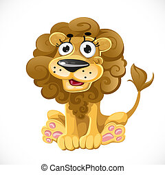Cute cartoon character lion isolated on white background