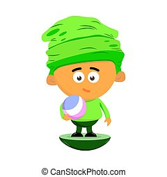 Cute cartoon character of a little boy in a big hat is holding a ball in his hand. Flat vector.