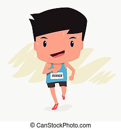 Cute cartoon character of marathon runner man