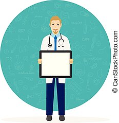 Cute cartoon character, professional male doctor holding blank placard. Vector illustration on white background.