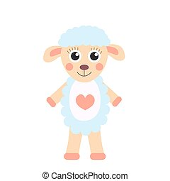 Cute cartoon character sheep. Children s toy sheep on a white background, isolated. Vector illustration