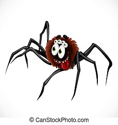 Cute cartoon character Spider isolated on white background