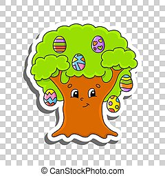 Cute cartoon character. Sticker with contour. Easter egg tree. Colorful vector illustration. Isolated on transparent background. Design element