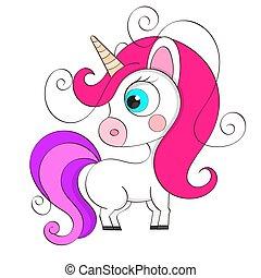 Cute cartoon character unicorn. Print for Baby Vector Illustration