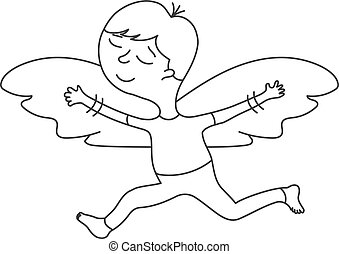 Cute cartoon character with wings in a linear style on white background.