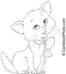 Cute cartoon cheerful kitten coloring page