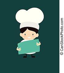 Cute Cartoon Chef - Holding a Paper Banner