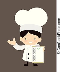 Cute Cartoon Chef - Showing a Checklist