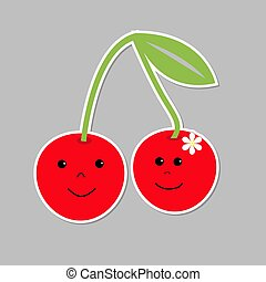Cute cartoon cherries with happy faces. Card.