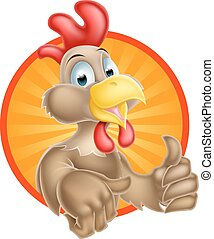 Cute Cartoon Chicken - A cute cartoon chicken mascot giving...
