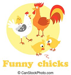 Cute cartoon chicken cock mother and child. Vector illustration.