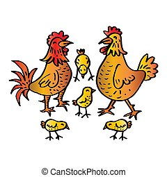 Cute cartoon chicken family isolated on white background