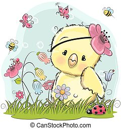 Cute Cartoon Chicken on a meadow with flowers and...
