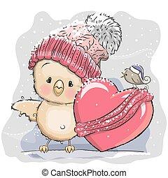Cute Cartoon Chicken in a knitted cap