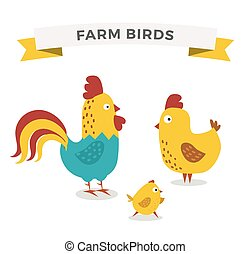 Cute cartoon chicken mother and chuk kid vector illustration...