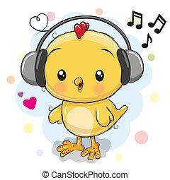 Cute cartoon Chicken with headphones