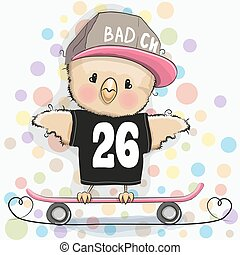 Cute Cartoon Chicken with skateboard