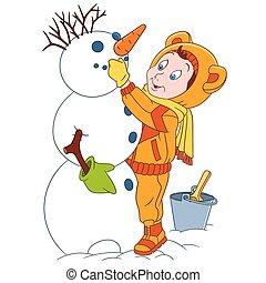 cute cartoon child and a snowman - cute and happy cartoon...