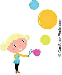 Cute cartoon Child with Colorful Soap Bubbles - vector Illustration.