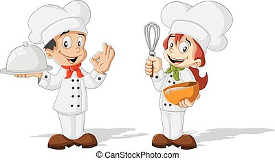 Cute cartoon children chefs