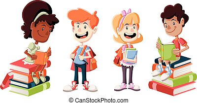Cute cartoon children with books.