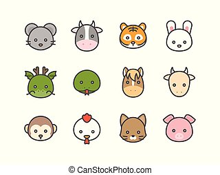 Cute cartoon Chinese zodiac filled icon, face of rat, cow, tiger, rabbit, dragon, snake, horse, goat, monkey, rooster, dog and pig, size 128 px