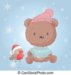 Cute cartoon christmas bear with bullfinch. Vector illustration